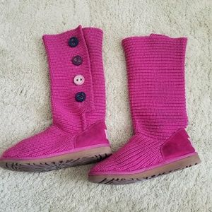 UGG Cardy Pink Knit Button Boots, 6